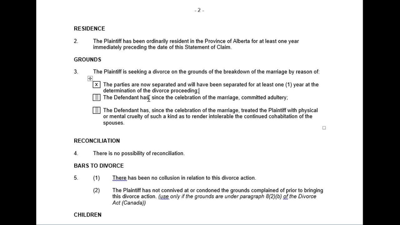 statement of claim alberta divorce court forms