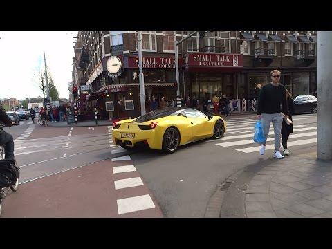 Wat een geluidje: Gele Ferrari 458 Italia in Amsterdam Zuid.