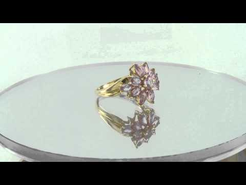 Estate 14K Yellow Gold 1.50ct Pink Sapphire Flower Ring Mother's Day Special