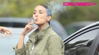 Emmanuelle Chriqui Takes A Cigarette Break At Channing Tatum's Birthday Party 4.26.17