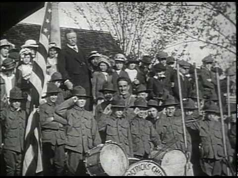 1910  Video 1  Boys Scouts Meeting President Teddy