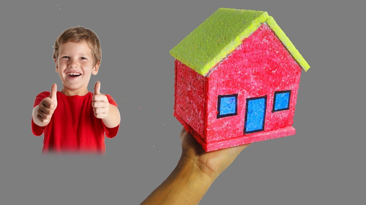 Awesome How To Make Small Thermocol House Model   Very Easy And Quickly | School  Project For Kids (DIY)