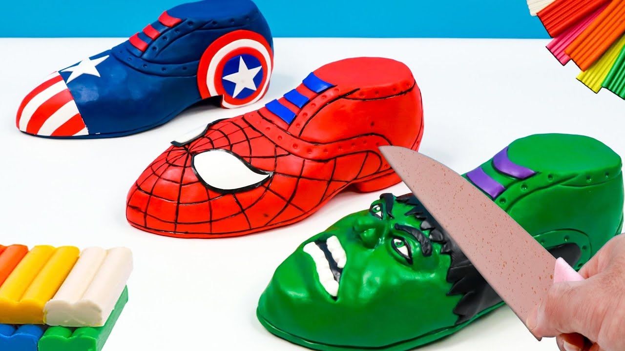 Making Shoes Superheroes Marvel Spiderman, Hulk, Captain America with clay 🧟 Polymer Clay Tutorial