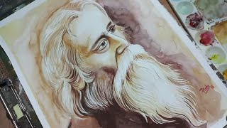 Painting Rabindranath Tagore in watercolour