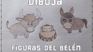 Dibujos del Nacimiento (mula, buey y Jesús)   [Dibujo fácil para niños☺] Especial Navidad IX