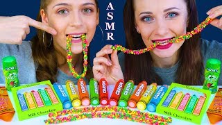 ASMR RAINBOW CRAYON CANDY, NERDS ROPE, ROLLING LIQUID CANDY MUKBANG
