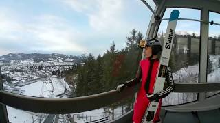 Begleiten sie nachwuchstalent maximilian beim training und erleben einen sprung von der skisprungschanze in oberstdorf vor vierschanzentournee 2017.
