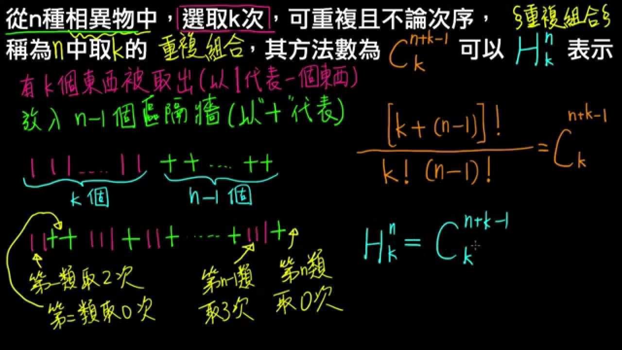 高一下數學2-2E觀念02重複組合的符號與公式 - YouTube
