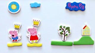 Принцесса Свинка Пеппа и Джордж Принц собираем магнитные пазлы для детей из мультика свинка пеппа