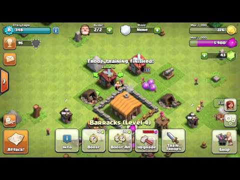 Clash of clans- Upgrading town hall to level 3