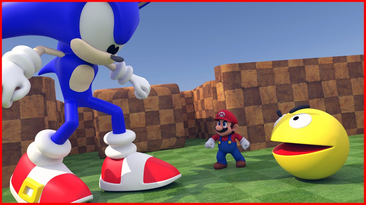 Giant Sonic and Mario vs Metal Pacman