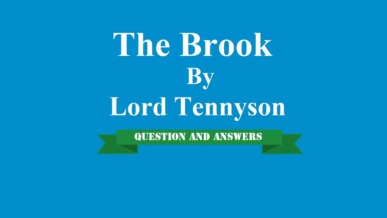 analysis of the brook by alfred lord tennyson