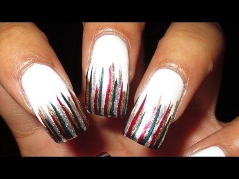 christmas reverse waterfall nail