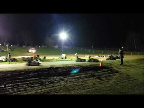Rice Lake Speedway Kart Track. Pit view, Feature Race, Pumpkin 100, 10-19-19.