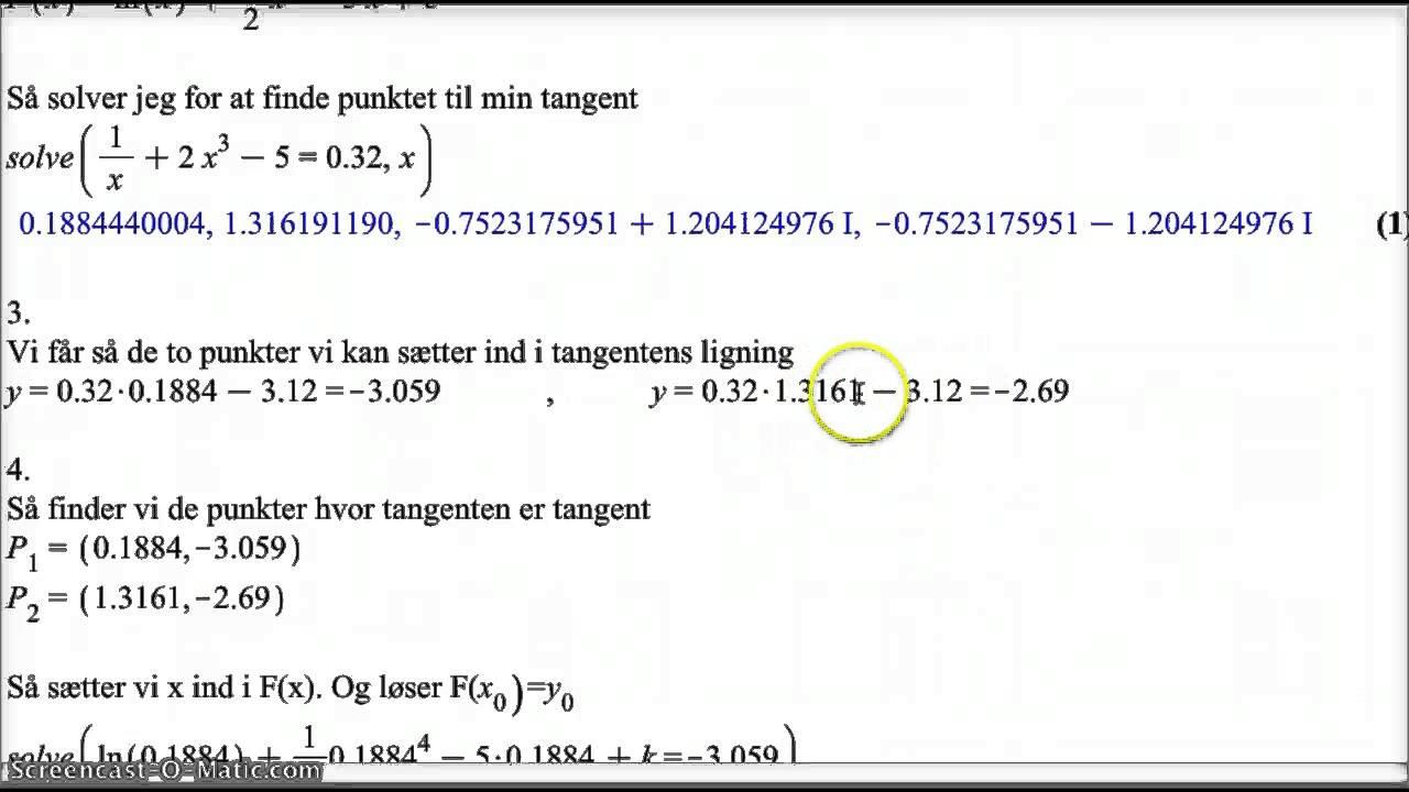 stamfunktion med en bestemt tangent - gruppe 6