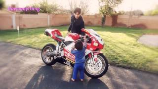 My Son revved up the DUCATI Superbike & got scared