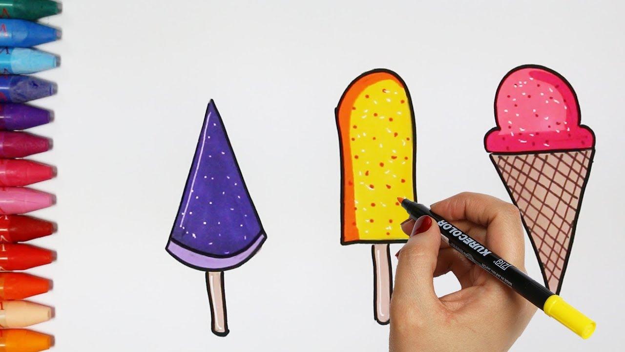 Cara Menggambar Es Krim Cara Menggambar Dan Mewarnai Tv Anak Youtube