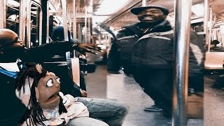 Repeat youtube video Man Goes Nuts over  A puppet on New York Subway