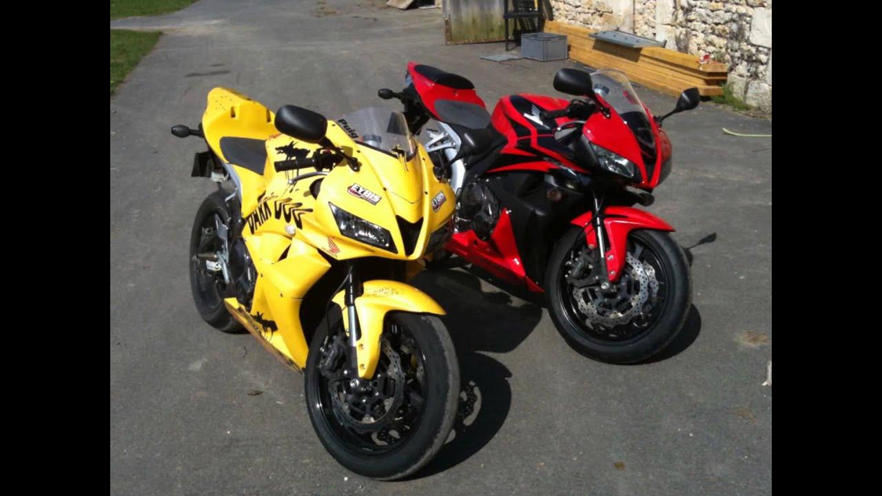 Honda 600 CBR rouge et noir carrénages moto jaunes Dark ...