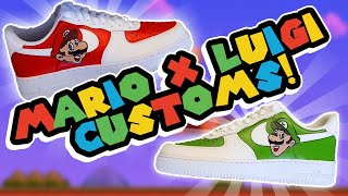 Custom Nike Air Force 1 - Mario x Luigi (Mario Bros) 🎨