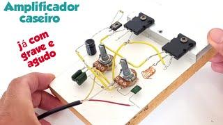 Amplificador de áudio caseiro com 2sc5200 e equalizador de grave e agudo. screenshot 4