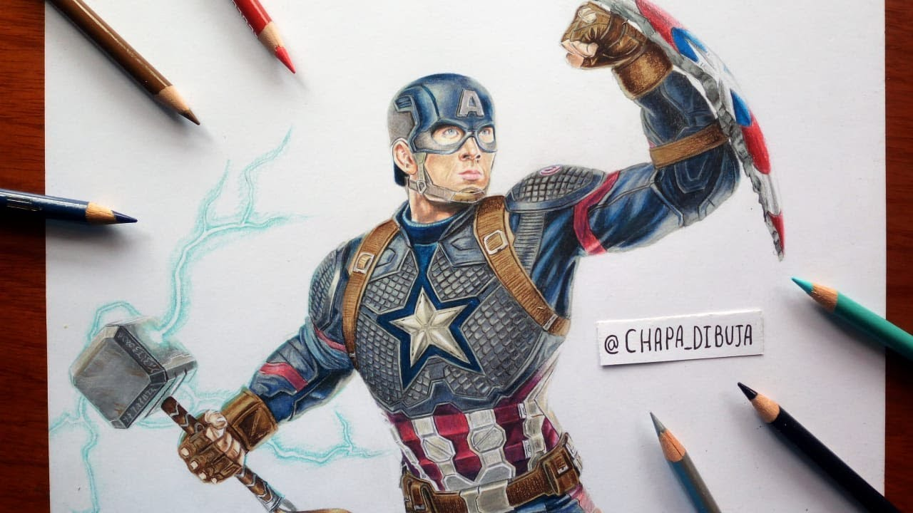 "Cómo Dibujo a CAPITAN AMERICA ""AVENGERS ENDGAME""/ Drawing CAPTAIN AMERICA with MJOLNIR"