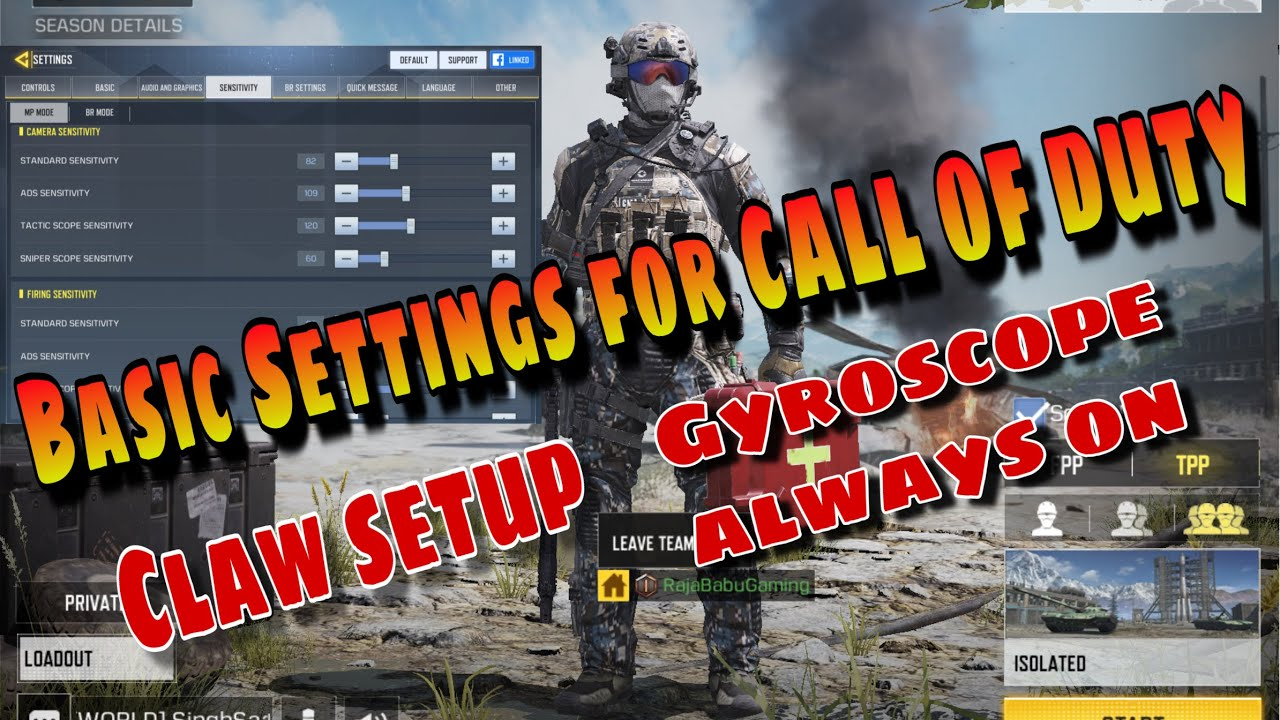 Basic claw and gyroscope setting for call of duty mobile ios and android -