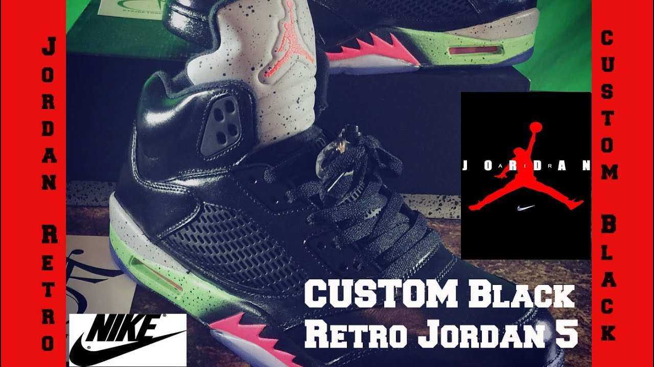 Custom nike Air Jordans Retro 5 Black Pro Star Poisons Alternate