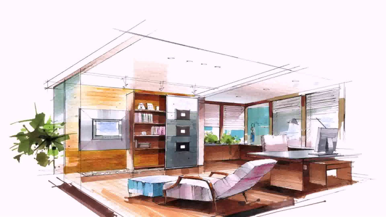 Living room interior design sketch