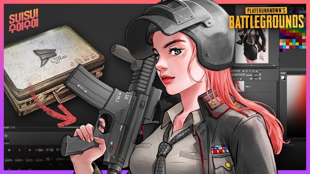 PUBG M4 Girl With Militia Outfits!