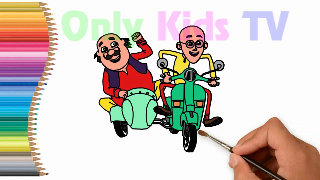 How To Draw Motu Patlu Ride On Scooter Only Kids Tv Youtube