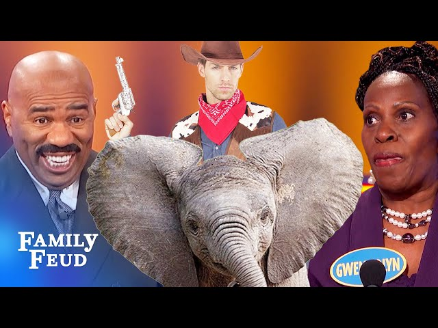 Cowboy riding a WHAT??? | Family Feud