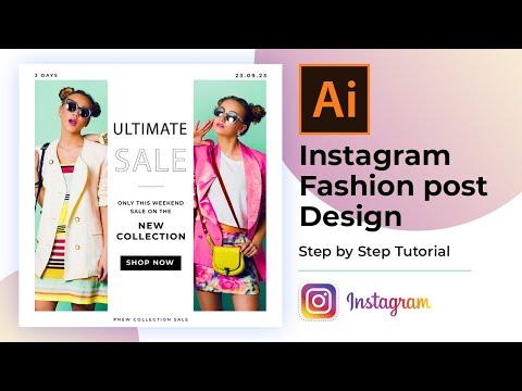 Instagram Fashion Post Design in Adobe Illustrator