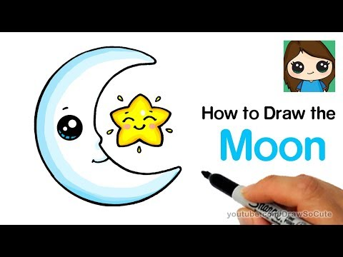 How to Draw the Moon and a Star Easy Cute