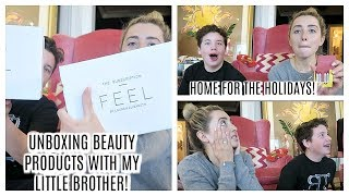 UNBOXING BEAUTY PRODUCTS WITH MY LITTLE BROTHER! | Lauren Elizabeth