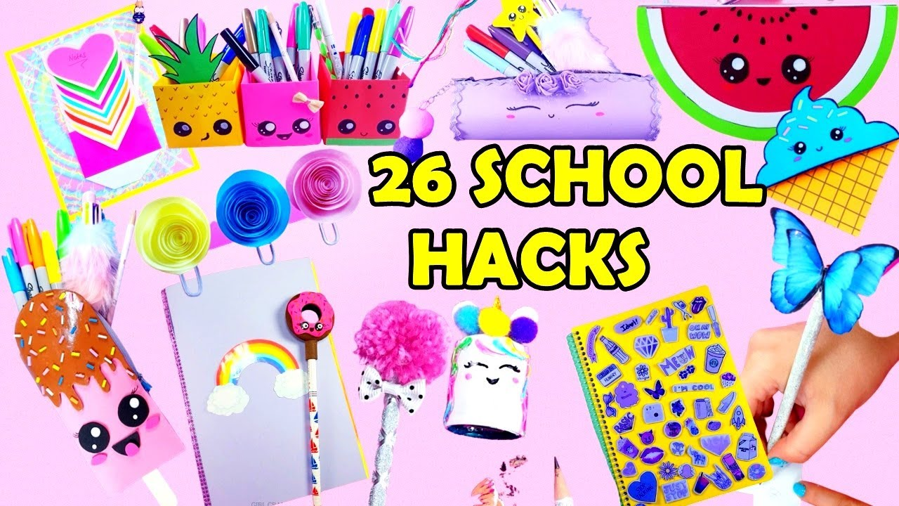 DIY: 26 FUN AND USEFUL SCHOOL SUPPLIES! BACK TO SCHOOL HACKS