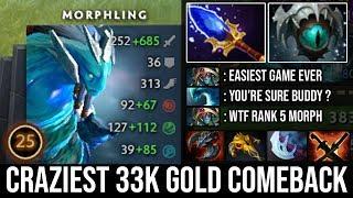 WTF 33k Gold Comeback!!! 23savage Scepter Morphling 9K MMR Mind Blowing Plays Crazy 30Kills DotA 2
