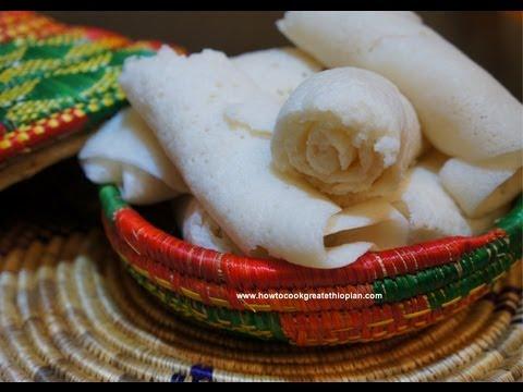 Ethiopian Food - Injera how to make recipe - Rice flour Version Not Tef Teff Amharic English