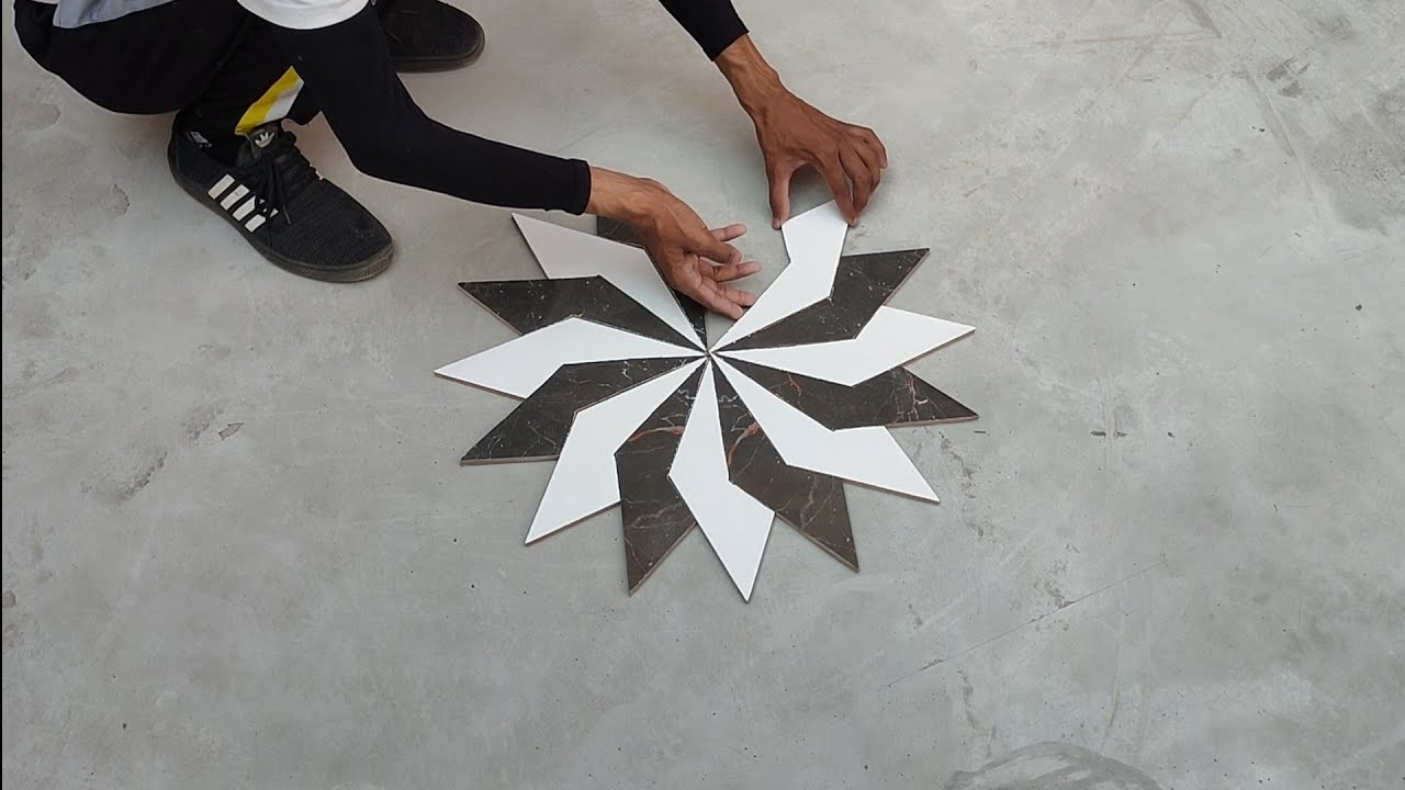 How to make 16 leaf black and white flower design