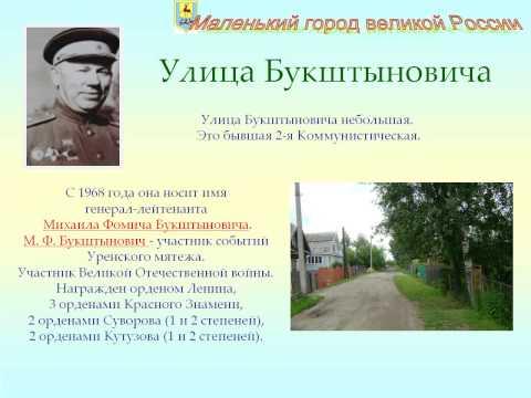 Путеводитель по улицам города Урень