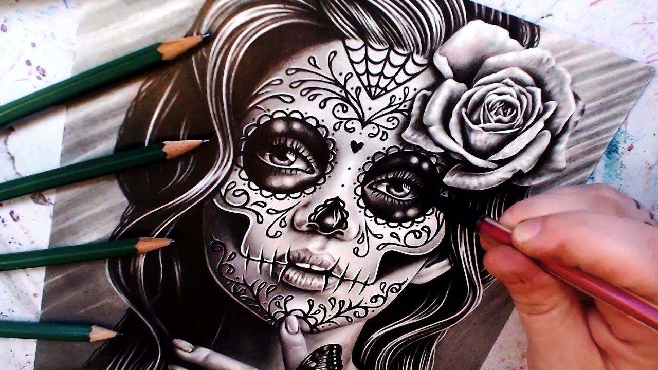 Watch Me Draw Serenity Sugar Skull Girl Portrait Youtube