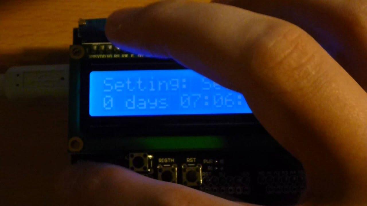 Arduino lcd keypad shield clock youtube