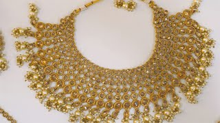 Pan shot of gorgeous Indian traditional wedding jewelry