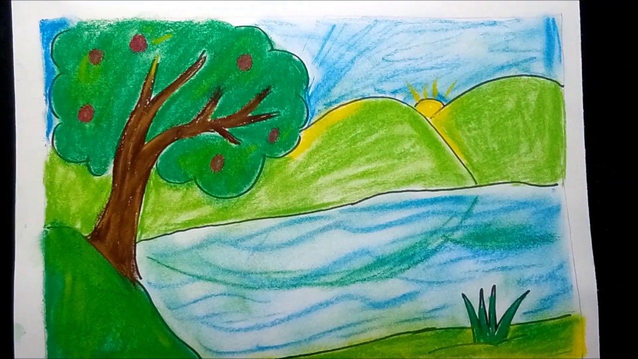 How to draw easily a colorful nature landscape लैंडस्केप चित्र आस