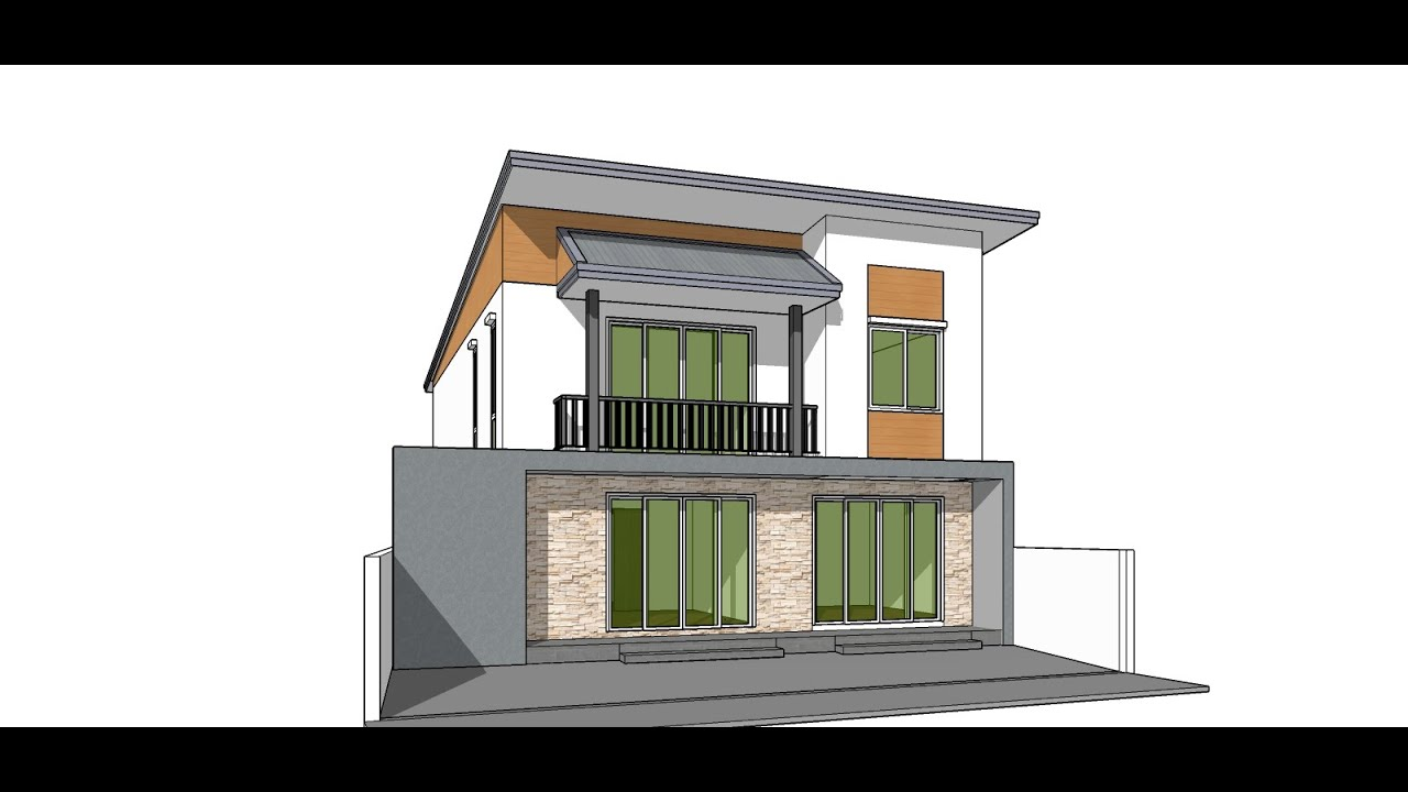Tutorial sketchup pro create modern house model youtube for Modern house sketchup