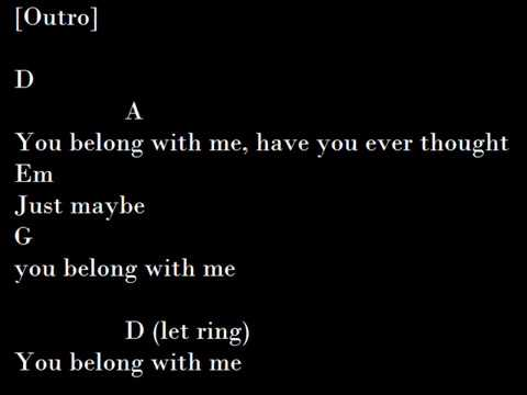 Taylor Swift - You Belong With Me (guitar chords and lyrics)