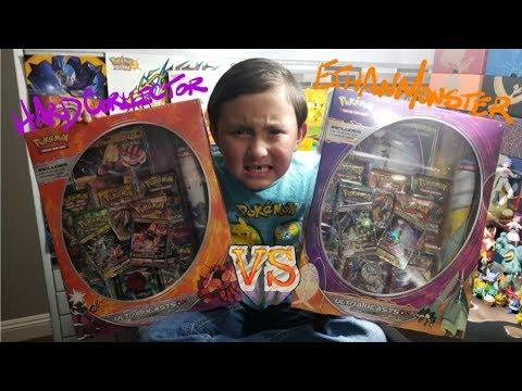 OPENING BOTH ULTRA BEAST PREMIUM COLLECTION BOXES!! POKEMON CARD BOX BATTLE! ETHAN VS HARDCORLLECTOR