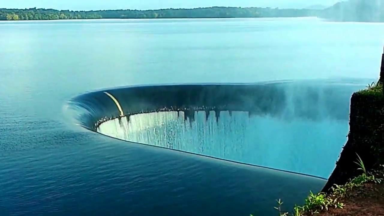Rainbow At Sink Hole Duckbill Spillway Salaulim Dam