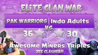 "Clash Of Clans | ELITE WAR - Pak Warriors vs Indo Adults - 6 x 3 Stars Attacks ""TH11 vs TH11"""