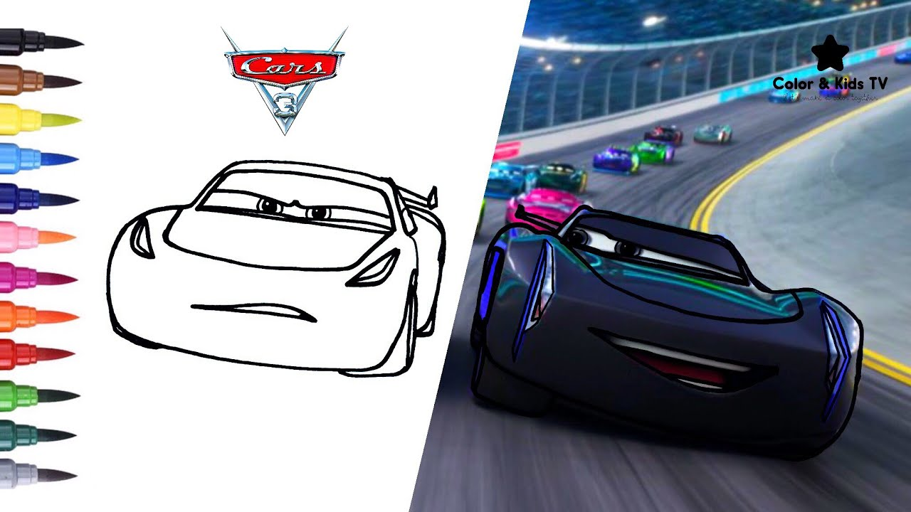 Cars 3 cruz ramirez and jackson storm coloring pages for children color kids tv